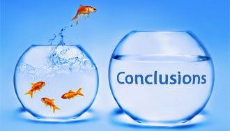 The Case for The Conclusion: Goldfish jumping from small fishbowl to large fishbowl with caption Jumping to a winning conclusion